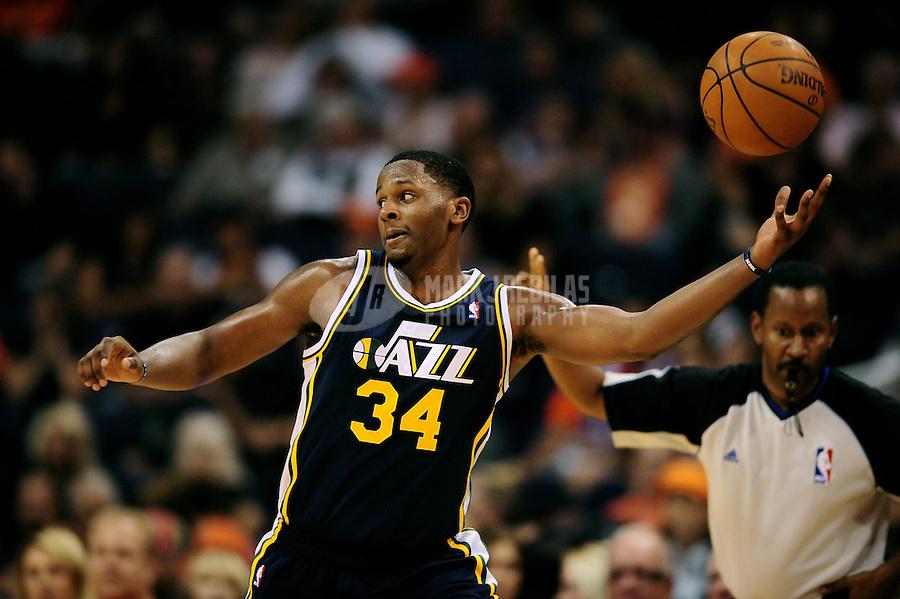 Oct. 12, 2010; Phoenix, AZ, USA; Utah Jazz forward (34) C.J. Miles against the Phoenix Suns during a preseason game at the US Airways Center. Mandatory Credit: Mark J. Rebilas-