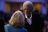 Actor Morgan Freeman talks prior to the National Prayer Breakfast in Washington, DC, USA, 04 February 2016. For 63 years the National Prayer Breakfast has given presidents the  opportunity to gather with members of Congress and evangelical Christians to pray and talk about the role of prayer in their own lives.<br /> Credit: Shawn Thew / Pool via CNP