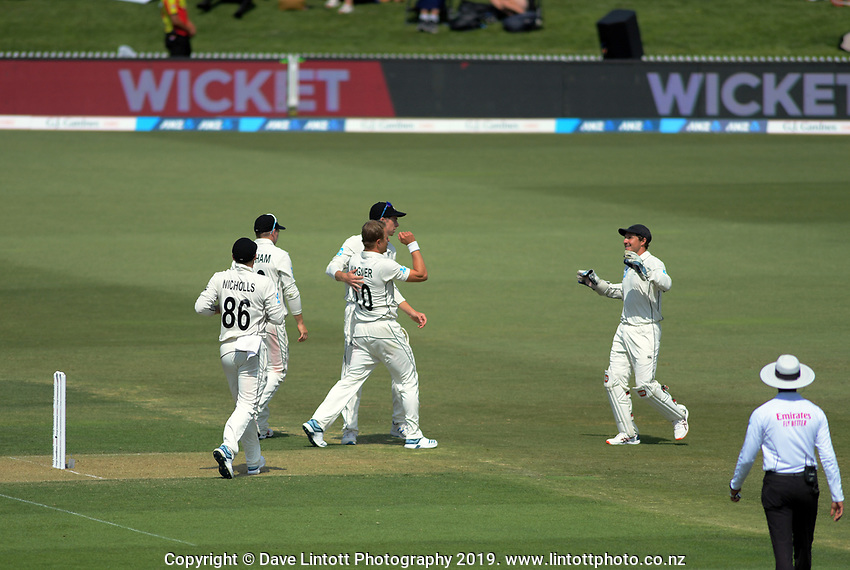 NZ's Neil Wagner celebrates dismissing England's Joe Root during day one of the international cricket 1st test match between NZ Black Caps and England at Bay Oval in Mount Maunganui, New Zealand on Thursday, 21 November 2019. Photo: Dave Lintott / lintottphoto.co.nz