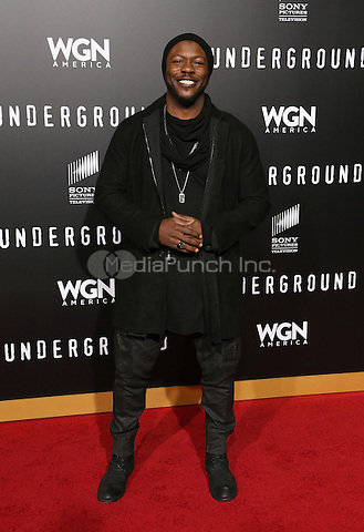 "WESTWOOD, CA - February 28: Edwin Hodge, At Premiere Of WGN America's ""Underground"" Season 2, At The Regency Village Theatre In California on February 28, 2017. Credit: Faye Sadou/MediaPunch"