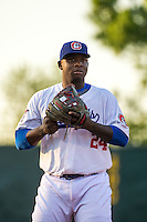 Miguel Sano (24) of the Chattanooga Lookouts looks on during a game between the Jackson Generals and Chattanooga Lookouts at AT&T Field on May 7, 2015 in Chattanooga, Tennessee. (Brace Hemmelgarn/Four Seam Images)