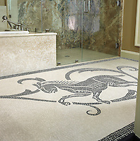 Custom Horse mosaic rug in Botticino and Nero Marquina marble