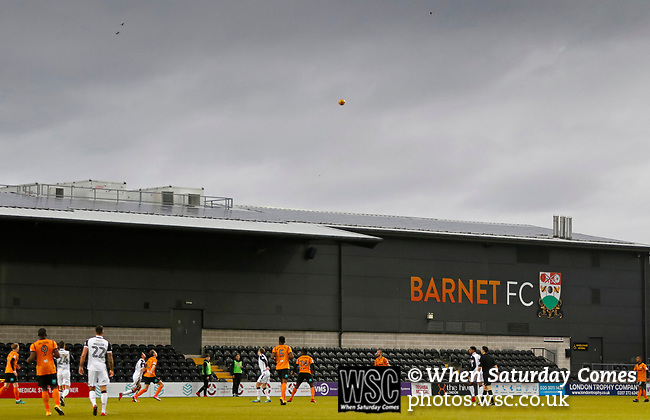 Barnet 2 Morecambe 0, 16/12/2017. The Hive, League Two. Players wait for the ball to come down in front of the East stand. Photo by Paul Thompson.