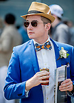 June 8, 2019 : A man is dressed up for the races on Belmont Stakes Festival Saturday at Belmont Park in Elmont, New York. Scott Serio/Eclipse Sportswire/CSM