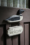Loon Welcome Sign on Cottage Door