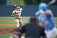 Florida State Seminoles relief pitcher Drew Parrish (43) in action against the North Carolina Tar Heels in the 2017 ACC Baseball Championship Game at Louisville Slugger Field on May 28, 2017 in Louisville, Kentucky. The Seminoles defeated the Tar Heels 7-3. (Brian Westerholt/Four Seam Images)