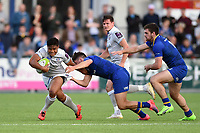 Ben Tapuai of Bath Rugby takes on the Leinster Rugby defence. Pre-season friendly match, between Leinster Rugby and Bath Rugby on August 25, 2017 at Donnybrook Stadium in Dublin, Republic of Ireland. Photo by: Patrick Khachfe / Onside Images