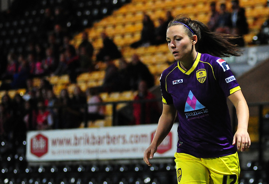 Notts County Ladies' Rachel Corsie&nbsp;<br /> <br /> Photo by Chris Vaughan/CameraSport<br /> <br /> Women's Football - FA Women&rsquo;s Super League 1 - Notts County Ladies v Arsenal Ladies - Wednesday 16th April 2014 - Meadow Lane - Nottingham<br /> <br /> &copy; CameraSport - 43 Linden Ave. Countesthorpe. Leicester. England. LE8 5PG - Tel: +44 (0) 116 277 4147 - admin@camerasport.com - www.camerasport.com