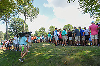 Fans crowd around Tigers drive into the trees on 2 during 3rd round of the World Golf Championships - Bridgestone Invitational, at the Firestone Country Club, Akron, Ohio. 8/4/2018.<br /> Picture: Golffile | Ken Murray<br /> <br /> <br /> All photo usage must carry mandatory copyright credit (© Golffile | Ken Murray)