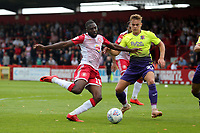 Emmanuel Sonupe of Stevenage and Archie Collins of Exeter City during Stevenage vs Exeter City, Sky Bet EFL League 2 Football at the Lamex Stadium on 10th August 2019