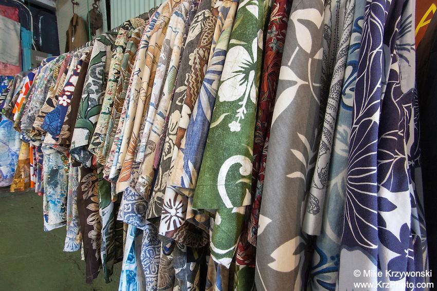 Hawaiian Aloha shirts for sale inside Glass From the Past Antique Store in Honomu, Big Island, Hawaii