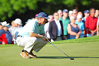 Ernie Els eyes up his putt on the #3 green during the BMW PGA Golf Championship at Wentworth Golf Course, Wentworth Drive, Virginia Water, England on 25 May 2017. Photo by Steve McCarthy/PRiME Media Images.