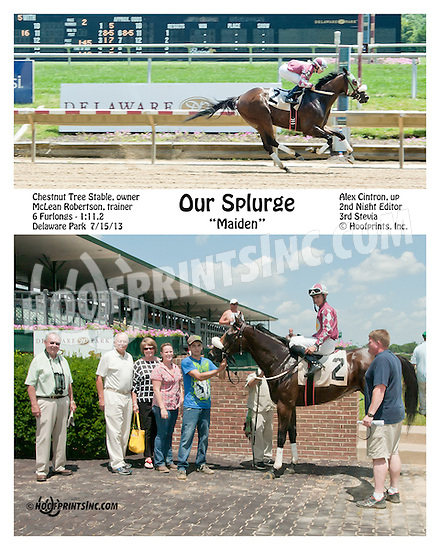 Our Splurge winning at Delaware Park on 7/15/13