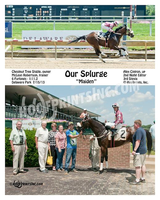 Our Splurge winning at Delaware Park on 7/15/13