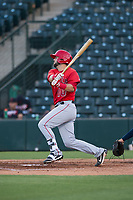AZL Angels first baseman Brett Bond (10) follows through on his swing during an Arizona League game against the AZL Indians 2 at Tempe Diablo Stadium on June 30, 2018 in Tempe, Arizona. The AZL Indians 2 defeated the AZL Angels by a score of 13-8. (Zachary Lucy/Four Seam Images)