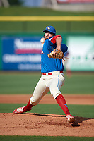Clearwater Threshers relief pitcher Will Hibbs (56) delivers a pitch during a game against the Florida Fire Frogs on June 1, 2018 at Spectrum Field in Clearwater, Florida.  Clearwater defeated Florida 2-0 in a game that was started on May 19th but called in the fifth inning due to weather.  (Mike Janes/Four Seam Images)