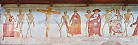 "The Church of San Vigilio in Pinzolo and its fresco paintings ""Dance of Death"" painted by Simone Baschenis of Averaria in1539, Pinzolo, Trentino, Italy.<br />