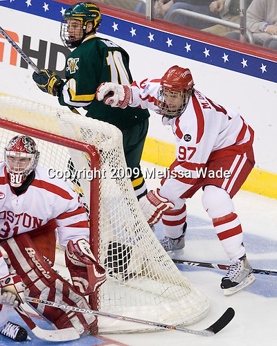 Colin Vock (Vermont - 10), Matt Gilroy (BU - 97) - The Boston University Terriers defeated the University of Vermont Catamounts 5-4 on Thursday, April 9, 2009, in the 2009 Frozen Four Semi-Final at the Verizon Center in Washington, DC.