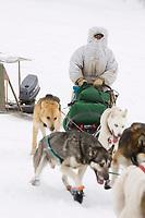 Cim Smyth arrives at the Nikolai checkpoint on Tuesday during Iditarod 2008