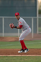 AZL Reds third baseman Debby Santana (7) prepares to make a throw to first base during an Arizona League game against the AZL Cubs 2 at Sloan Park on June 18, 2018 in Mesa, Arizona. AZL Cubs 2 defeated the AZL Reds 4-3. (Zachary Lucy/Four Seam Images)