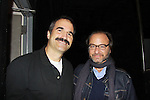 """Ryan's Hope's Fisher Stevens (Damages, Lost, Early Edition) poses with One Life To Live John Viscardi who stars as """"Mike McAlary"""" in The Wood at the Rattlestick Playwrights Theater, New York City, New York. The photo was taken on Septermber 15, 2011 on opening night. Fisher Stevens came to see the play. (Photo by Sue Coflin/Max Photos)"""