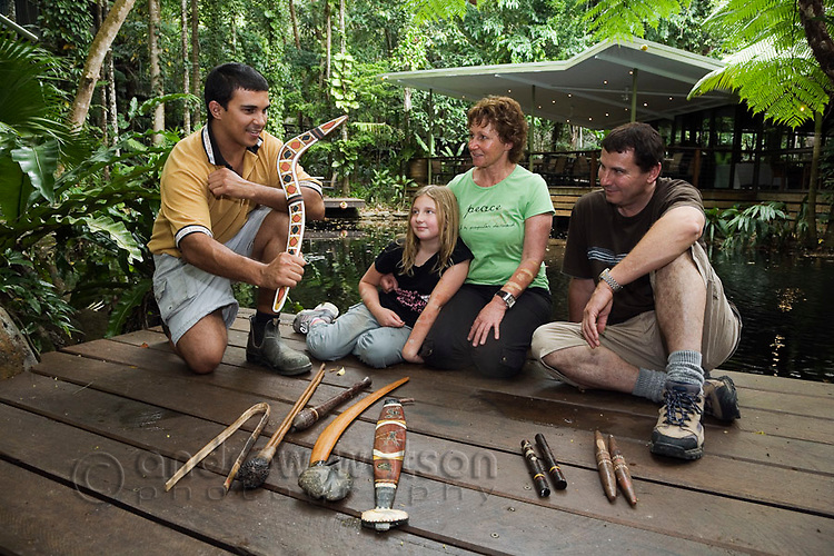 An indigenous guide explains the use of traditional hunting weapons used by the indigenous Kuku Yalanji people of the North Queensland rainforest.  The Kuku Yalanji   people inhabit a region bounded by Cooktown in the north and Port Douglas in the south.  Daintree Eco Lodge and Spa, Daintree, Queensland, Australia