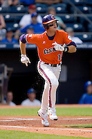 Ben Paulsen #10 of the Clemson Tigers runs down the first base line as he watches the flight of the baseball at Durham Bulls Athletic Park May 22, 2009 in Durham, North Carolina.  (Photo by Brian Westerholt / Four Seam Images)
