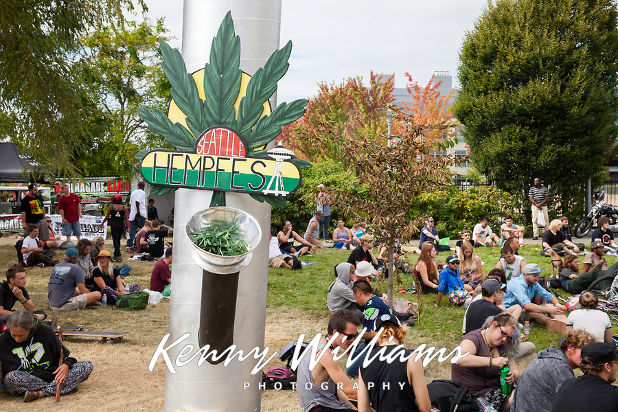Crowd Smoking Marijuana, Hempfest 2016, Seattle, WA, USA.