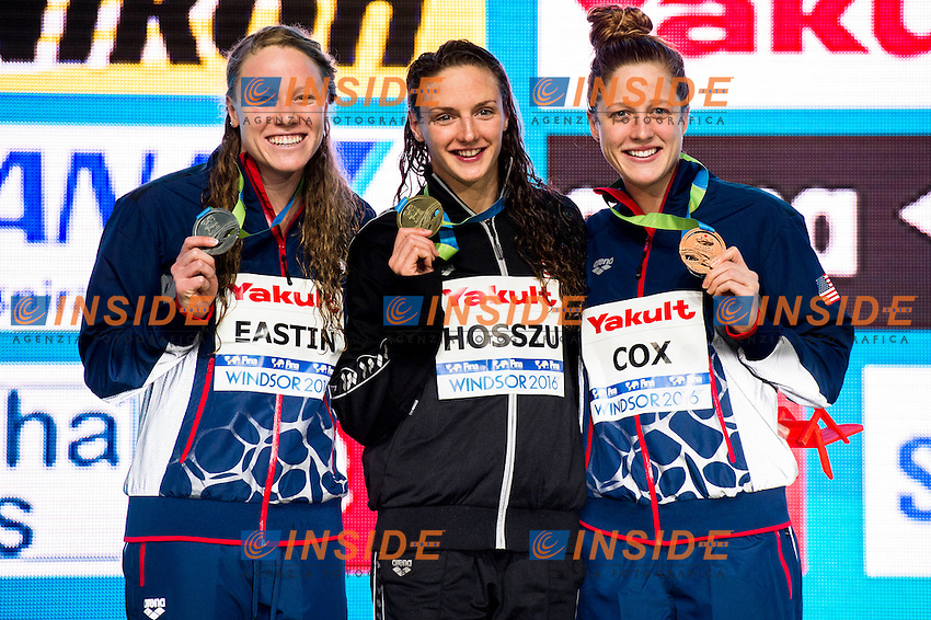 HOSSZU Katinka HUN Gold Medal<br /> EASTIN Ella USA Silver Medal<br /> COX Madisyn USA Bronze Medal<br /> Women's 400m Individual Medley<br /> 13th Fina World Swimming Championships 25m <br /> Windsor  Dec. 6th, 2016 - Day01 Finals<br /> WFCU Centre - Windsor Ontario Canada CAN <br /> 20161206 WFCU Centre - Windsor Ontario Canada CAN <br /> Photo &copy; Giorgio Scala/Deepbluemedia/Insidefoto