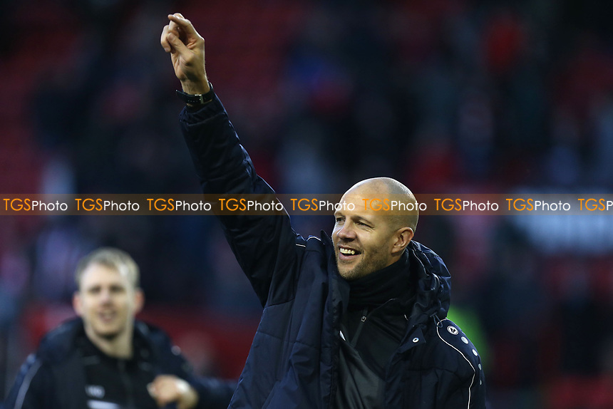 Barnet assistant manager Junior Lewis leads the celebrations after Sheffield United vs Barnet, Emirates FA Cup Football at Bramall Lane on 6th January 2019