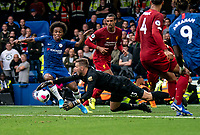 Goalkeeper Adrian of Liverpool pounces to save at the feet of Willian of Chelsea during the Premier League match between Chelsea and Liverpool at Stamford Bridge, London, England on 22 September 2019. Photo by Liam McAvoy / PRiME Media Images.