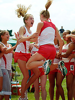 Renee Lott,  Sarah Bowman and the Fauquier girls track team react to the news that they are State Champions for the first time in school history at the conclusion of the Virginia State Championship AA Track Meet Saturday June 4, 2005 at James Madison University in Harrisonburg, VA.