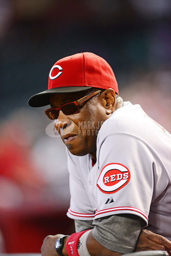 Aug. 29, 2012; Phoenix, AZ, USA: Cincinnati Reds manager Dusty Baker in the dugout in the first inning against the Arizona Diamondbacks at Chase Field. Mandatory Credit: Mark J. Rebilas-