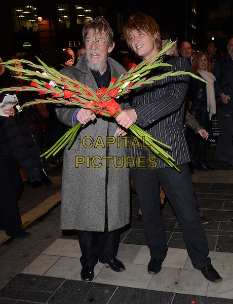 LONDON, ENGLAND - NOVEMBER 15: John Hurt &amp; Nick Hurt attends the &quot;Eat Pray Laugh!&quot; press night performance, London Palladium, Argyll St., on Friday November 15, 2013 in London, England, UK.<br /> CAP/CAN<br /> &copy;Can Nguyen/Capital Pictures