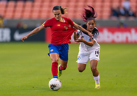 Melissa Herrera #7 of Costa Rica fights for the ball with Maryorie Perez #14 of Panama