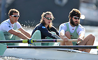 Putney, GREAT BRITAIN,  Tuesday Morning,  CUBC left to right. Alex ROSS, Mike THORP and Steve DUDEK. Cambridge Training Outing, Tideway week ,on the championship course. Putney/Mortlake, Tuesday   03/04/2012 [Mandatory Credit, Peter Spurrier/Intersport-images]