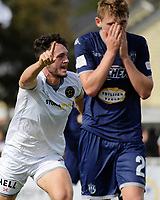 Team Wellington's Eric Molloy celebrates scoring the opening goal during the 2018 OFC Champions League semifinal between Auckland City FC and Team Wellington at Kiwitea St in Auckland, New Zealand on Sunday, 29 April 2018. Photo: Dave Lintott / lintottphoto.co.nz