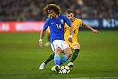 June 13th 2017, Melbourne Cricket Ground, Melbourne, Australia; International Football Friendly; Brazil versus Australia; David Luiz Marinho of Brazil clears the ball forward