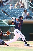 Rio Ruiz #5 of the Lancaster JetHawks bats against the Lake Elsinore Storm at The Hanger on April 6, 2014 in Lancaster, California. Lancaster defeated Lake Elsinore, 7-4. (Larry Goren/Four Seam Images)
