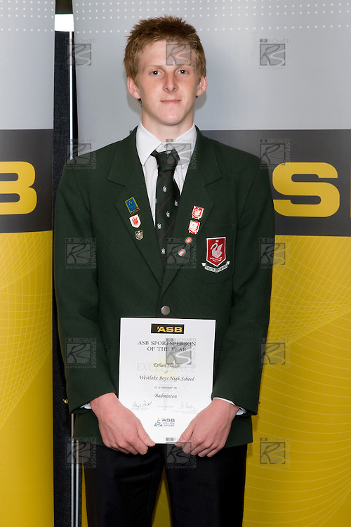 Boys Badminton winner Ethan Haggo from Westlake Boys High School. ASB College Sport Young Sportperson of the Year Awards 2008 held at Eden Park, Auckland, on Thursday November 13th, 2008.