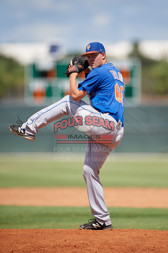 GCL Mets relief pitcher Ronnie Taylor Jr. (66) delivers a pitch during a game against the GCL Cardinals on August 6, 2018 at Roger Dean Chevrolet Stadium in Jupiter, Florida.  GCL Cardinals defeated GCL Mets 6-3.  (Mike Janes/Four Seam Images)