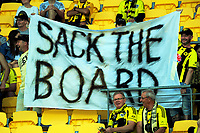 "Fans with a ""Sack The Board"" banner during the A-League football match between Wellington Phoenix and Sydney FC at Westpac Stadium in Wellington, New Zealand on Saturday, 23 December 2017. Photo: Dave Lintott / lintottphoto.co.nz"