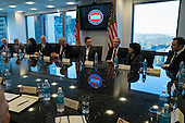 President-elect Donald Trump, Vice President-elect Mike Pence, cabinet nominees and technology company chiefs are seen at a meeting  in the Trump Organization conference room at Trump Tower in New York, NY, USA on December 14, 2016. <br /> Credit: Albin Lohr-Jones / Pool via CNP