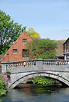 City Mill and bridge over the River Itchen, Winchester, Hampshire, England