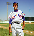 Chicago Cubs Ernie Banks (14) portrait from a game in 1967 at Shea Stadium in New York .Ernie Banks played all of his 18 seasons with the Chicago Cubs, was an 11-time All-Star, National League MVP in 1958, 1959 and  was inducted to the Baseball Hall of Fame in 1977.(SportPics)