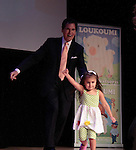 Ernie Anastos & Malena James (daughter Constantine Maroulis) on stage at Loukoumi & Friends Concert held on June 23, 2014 at the Scholastic Theatre, New York City, New York.  Proceeds will benefit The Loukoumi Make a Difference Foundation. Foundation first project will be the Make A Difference with Loukoumi television special airing on FOX stations Oct 19-20. (Photo by Sue Coflin/Max Photos)
