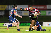 Gafatasi Su'a looks to fend off Braden Stewart  as he tries to free himself from Peter Samu's tackle. Mitre 10 Cup game between Counties Manukau Steelers and Tasman Mako's, played at ECOLight Stadium Pukekohe on Saturday October 14th 2017. Counties Manukau won the game 52 - 30 after trailing 22 - 19 at halftime. <br /> Photo by Richard Spranger.