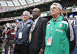 10 June 2007: Jack Warner (center), President of CONCACAF, with Justino Compean (r), president of the Federacion Mexicana de Futbol Asociacion, and a representative from the Honduran federation (l). The Honduras Men's National Team defeated the National Team of Mexico 2-1 at Giants Stadium in East Rutherford, New Jersey in a first round game in the 2007 CONCACAF Gold Cup.