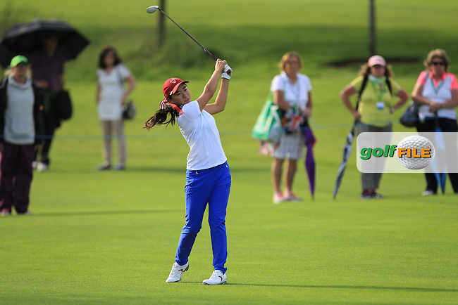 Mika Liu on the 12th during the Saturday Afternoon Fourballs of the 2016 Curtis Cup at Dun Laoghaire Golf Club on Saturday 11th June 2016.<br /> Picture:  Golffile | Thos Caffrey