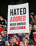 A Manchester United banner during the premier league match at Old Trafford Stadium, Manchester. Picture date 13th August 2017. Picture credit should read: David Klein/Sportimage